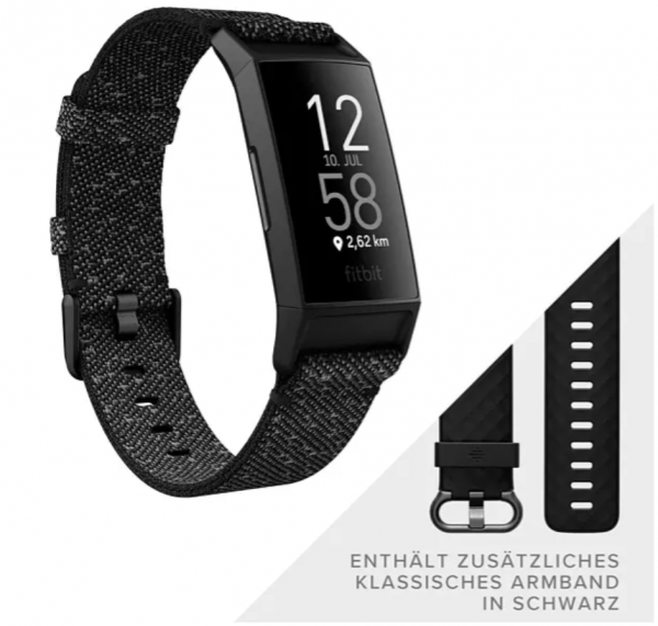 Fitbit Charge 4 NFC Special Edition, Fitnesstracker, S, L, Black/Granite