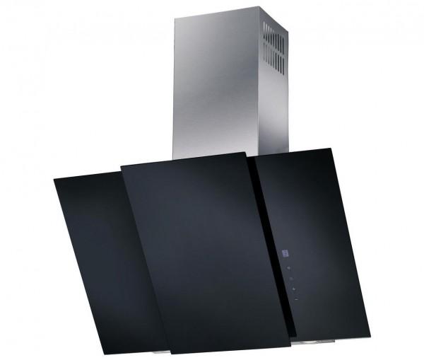 Mican 60200 Dunstabzugshaube, Schrägesse, 80cm, kopffrei, schwarz/edelstahl
