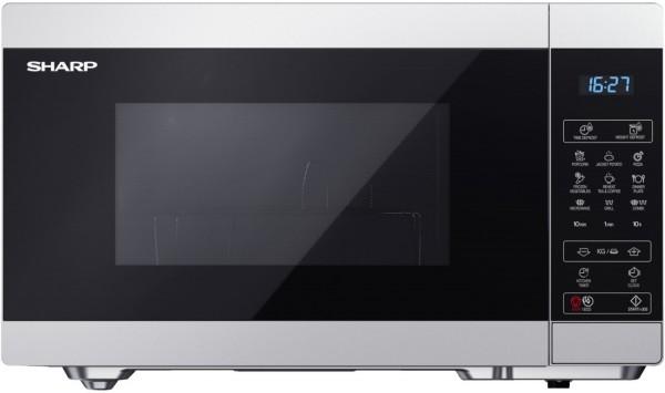 Sharp YC-MG81ES Mikrowelle mit Grillfunktion, 900 Watt, 28 Liter, silber