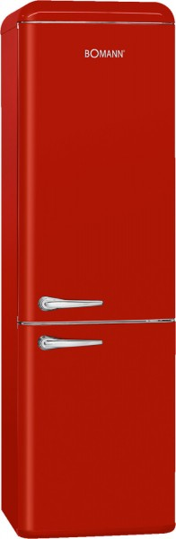 Bomann KGR 7328 Kühl-/ Gefrierkombination, Retro, 188 cm hoch, A++, rot