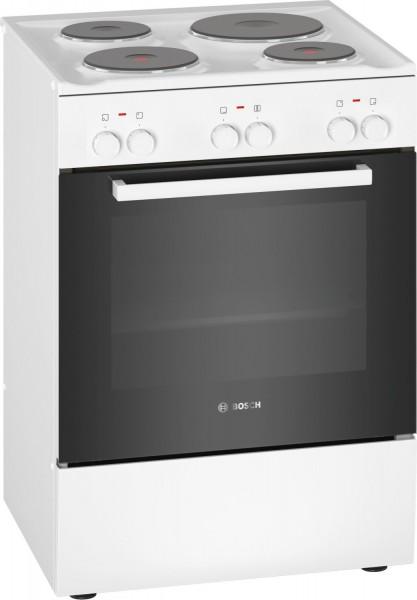 Bosch HQA050020 Elektro-Standherd, Masse-Kochplatte, 60cm breit, weiß