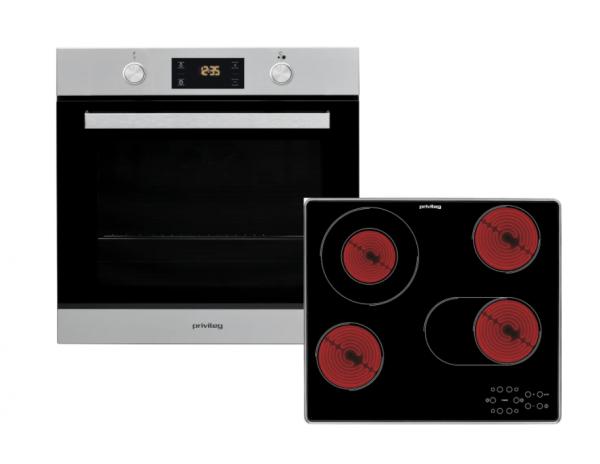 Privileg BAKO Turn&Cook 200 Autarkes Herd-Set mit Glaskeramik-Kochfeld, silber