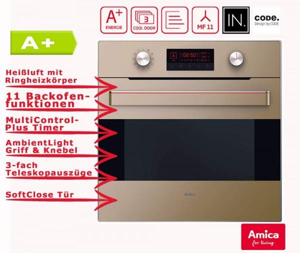 Amica EB 63523-2 M Einbau- Backofen, Autark, A+, Teleskopauszüge, Beige