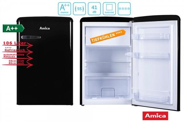 Amica KS 15614 S Retro Kühlschrank mit Gefrierfach, schwarz, A++